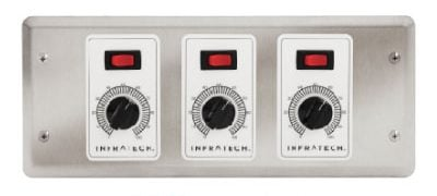Capable of turning three different zones on or off as well as control the intensity of each zone with the control knob.