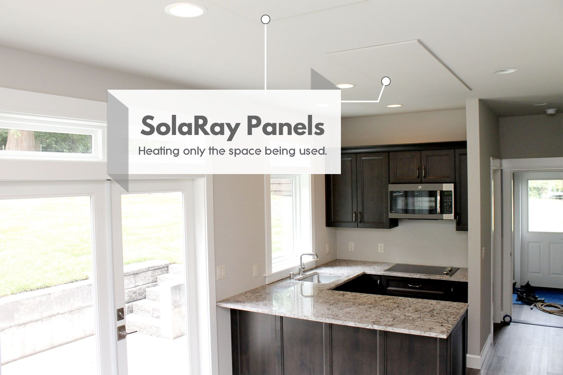SolaRay panel heater mounted on a kitchen ceiling