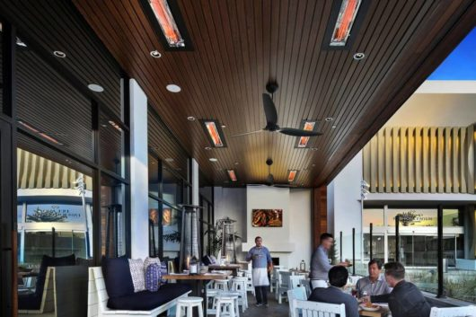 WD Series Infratech heaters above commercial outdoor dining